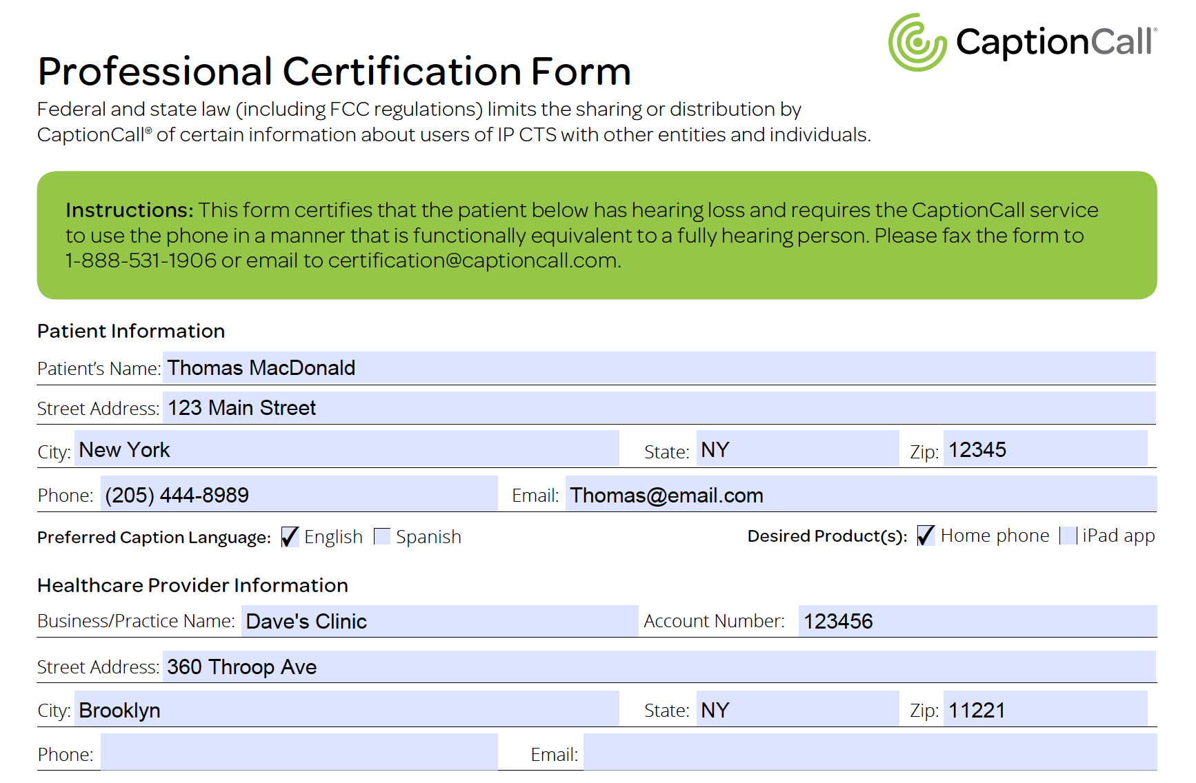 captioncall professional certification form
